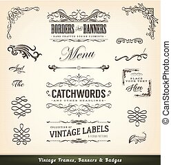 inramar, årgång, baner, calligraphic