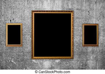 inramar, bild, vägg, konkret