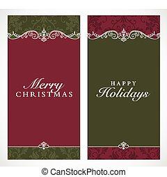 inramar, lång, vektor, jul