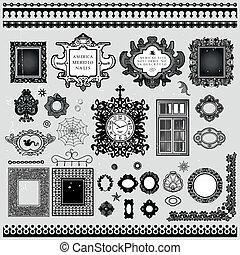 inramar, ornam, kanter, dekoration