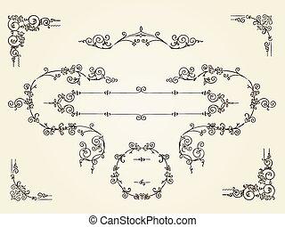 inramar, ornamental, gräns, årgång, rektangulär