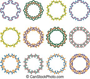 inramar, ornamental, sätta, runda, geometriskt