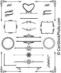 inramar, scrolls., viktorian, vector., ornamental