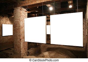 inramar, väggar, 2, vita tegelsten
