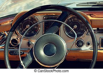 inre, årgång, gammal, bil, synhåll