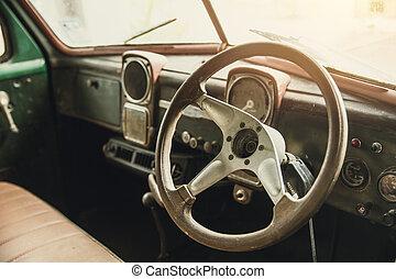 inre, årgång, gammal, instrumentbräda, bil