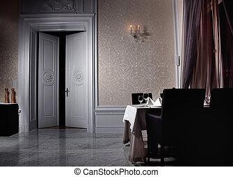 inre, öppna, vit, dörr, klassisk