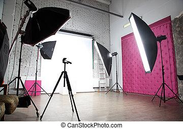 inre, av, a, nymodig, fotografi ateljé