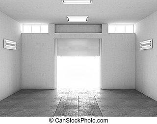 inre, av, en, tom, garage., 3, illustration