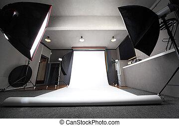 inre, av, professionell, fotografi ateljé, med, vit fond,...