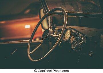 inre, bil, åldrig, klassisk