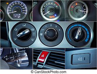 inre, bil, collage, detaljerna