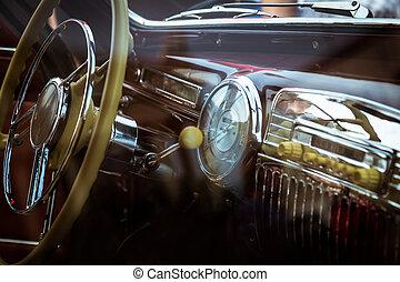 inre, bil, gammal, årgång