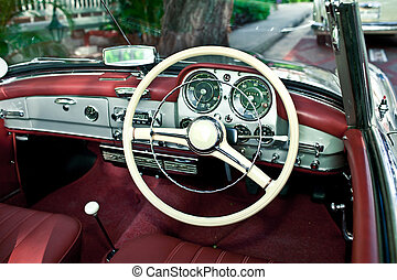inre, bil, gammal, retro