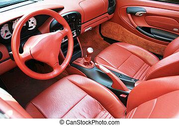 inre, bil, läder, röd