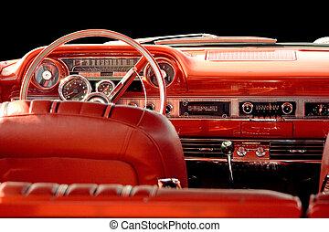 inre, bil, röd, klassisk