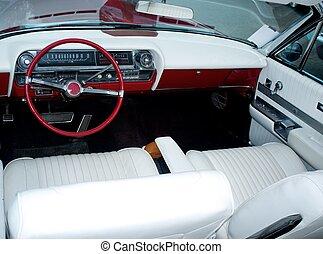 inre, bil, retro, klassisk