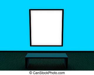 inre, blå, nymodig, design, vägg