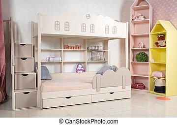 inre, brits, rum, säng, barn