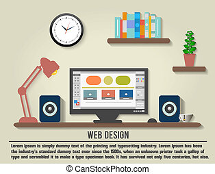 inre designer, nymodig, kontor, skrivbord