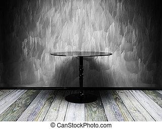 inre, gammal,  grunge, bord, svart