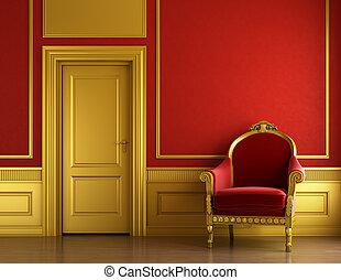 inre, gyllene, design, röd, stilig