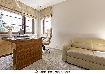 inre, hem, nymodig, kontor