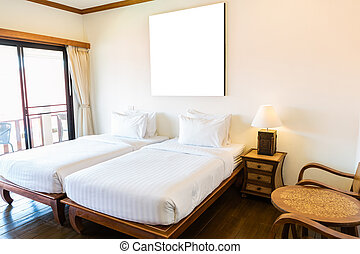 inre, hotell, nymodig rum, komfortabel