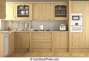 inre, klassisk, design, kök