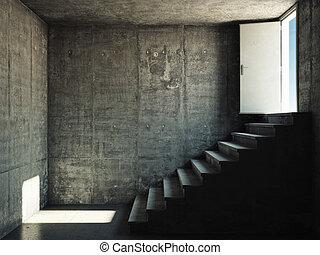 inre, konkret, väggar, trappa, rum