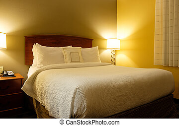 inre, kung, hotellrum, säng