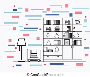 inre, lägenhet, design, linjär, illustration