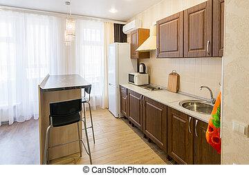 inre, lägenhet, hinder, diskbänk