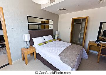 inre, -, lägenhet, nymodig, sovrum