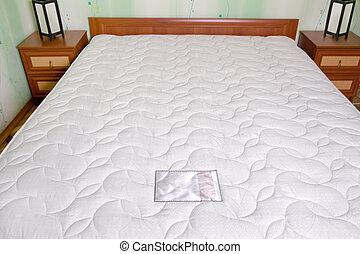 inre, mattress., säng, sovrum