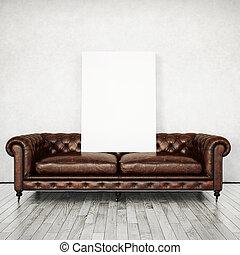 inre, med, årgång, soffa, och, poster., 3, framförande
