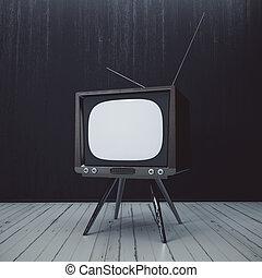 inre, med, tom, föråldrad, tv