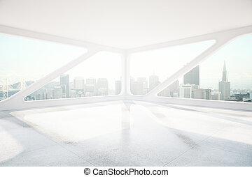 inre, panorama, fönster, sida