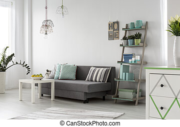 inre, rum, levande, lampan, stilig, komfortabel