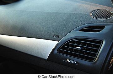 inre, svart, nymodig, bil., instrumentbräda