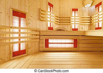 inre, uppehåll, spatiös, sauna