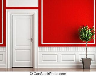 inre, vit, design, röd, klassisk