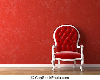 inre, vit, design, röd