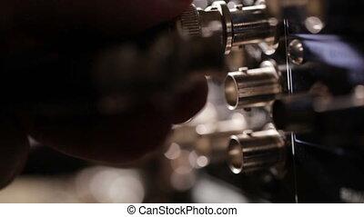 insérer, beau, câble, light., composant, dos, recorder., rgb, vidéo, professionnel