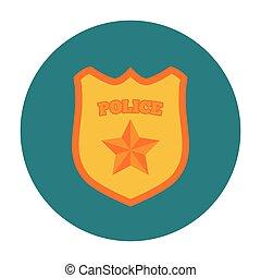 insígnia policial, apartamento, ícone