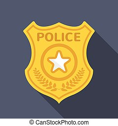 insígnia policial, longo, sombra, apartamento, ícone