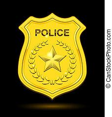 insígnia policial, ouro