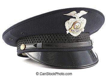 insígnia policial, recruta, oficial, fundo, chapéu branco