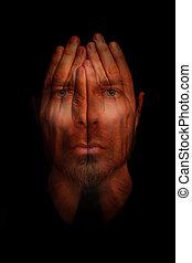 insônia, disorder sono, conceito, -, cedam, abertos, olhos