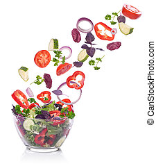 insalata, lattuga, verdura, isolato, falling., white.
